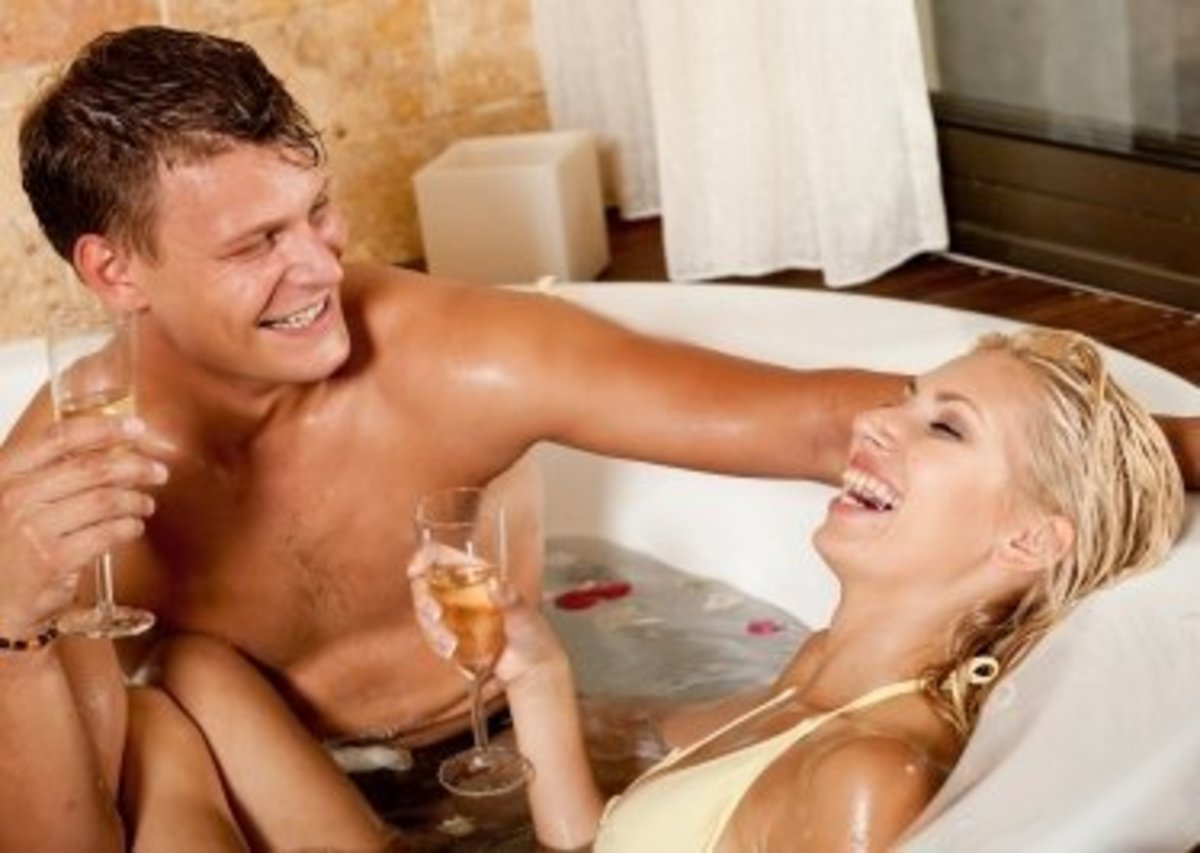 A fun and playful bath can be a very romantic activity for couples.