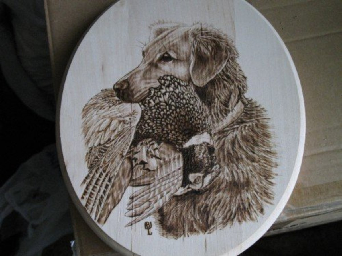 Amish artisan wood burning art