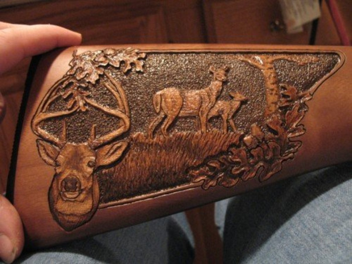 Amish hand carved gun stocks featured in Outdoor Life Magazine