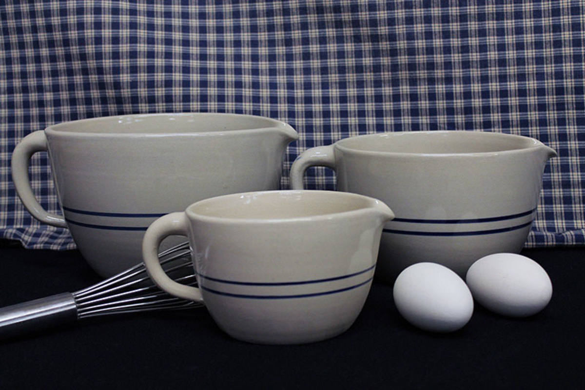 Blue stripe old fashioned kitchen pottery.