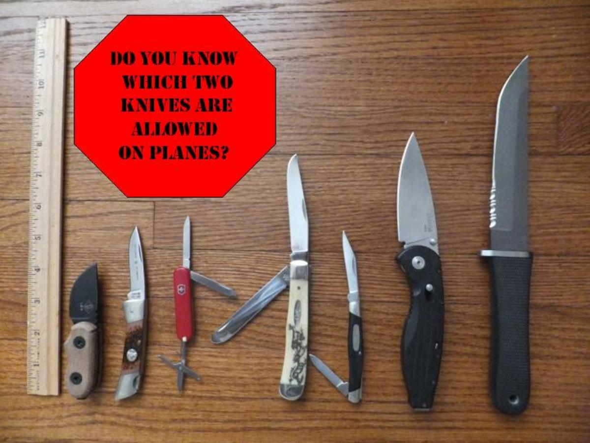 After new regulations take effect, the third (Victorinox Classic) and fifth (Buck 309) knife would be allowed within the cabin of a plane.