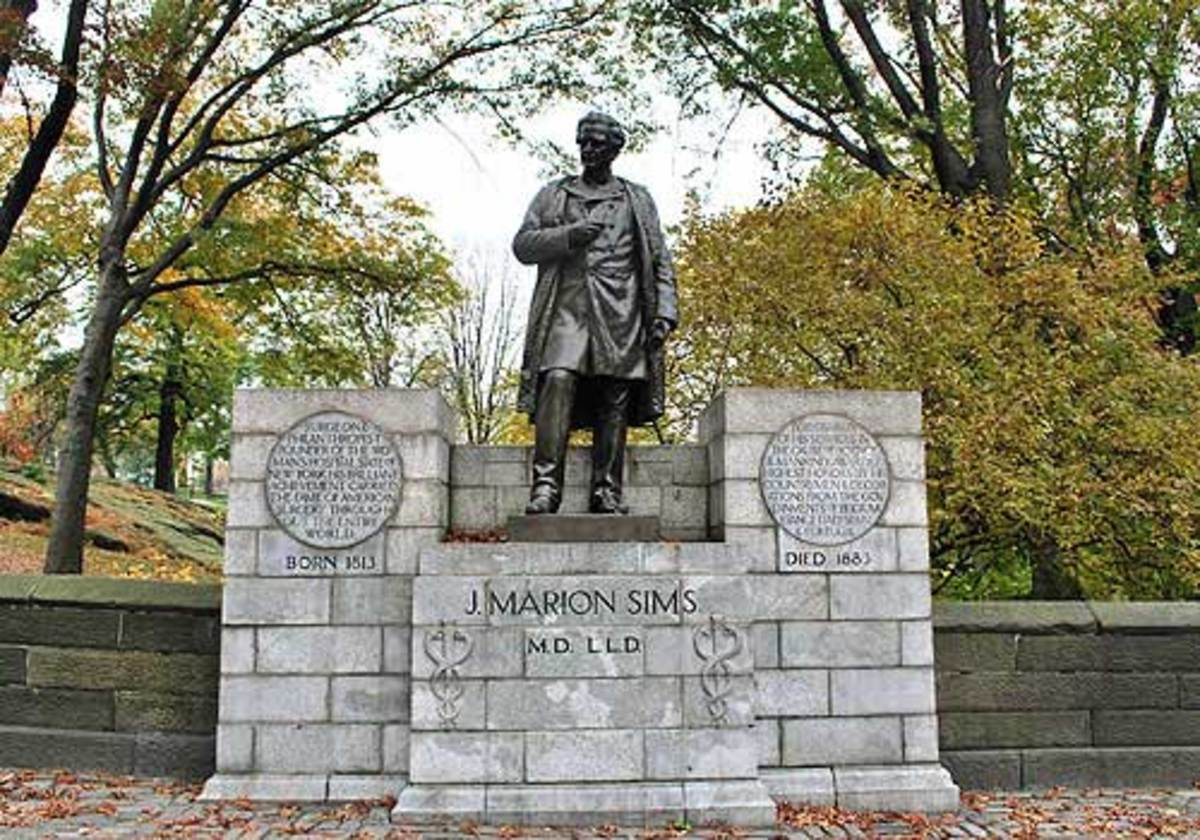 Dr. James Marion Sims' statue in Central Park.