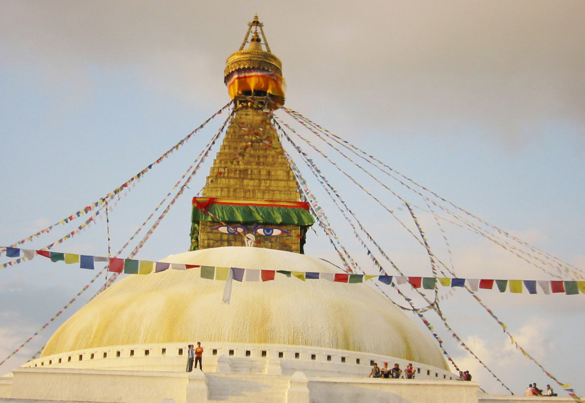 Boudhanath Stupa is a pilgrim site for the Tibetans and Nepalese