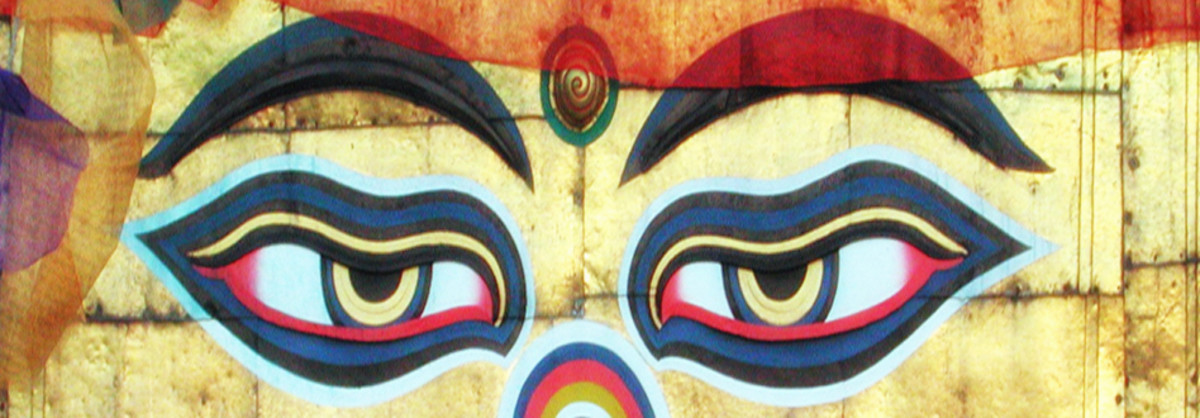 Eyes of Truth: The Buddha's eyes painted on Swyambhu Monastry in Kathmandu