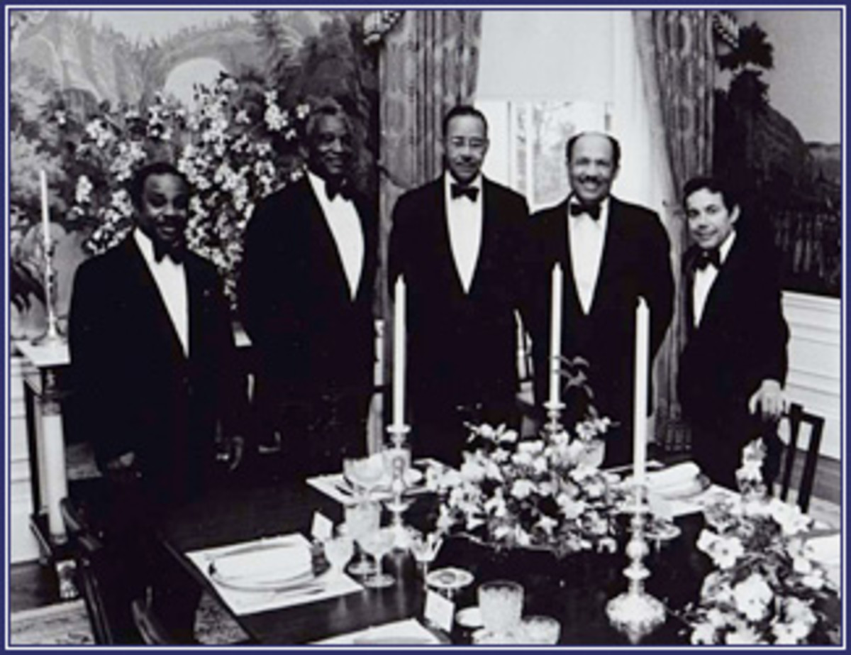 Eugene Allen ( 2nd from right)  with some of the other White House staff.