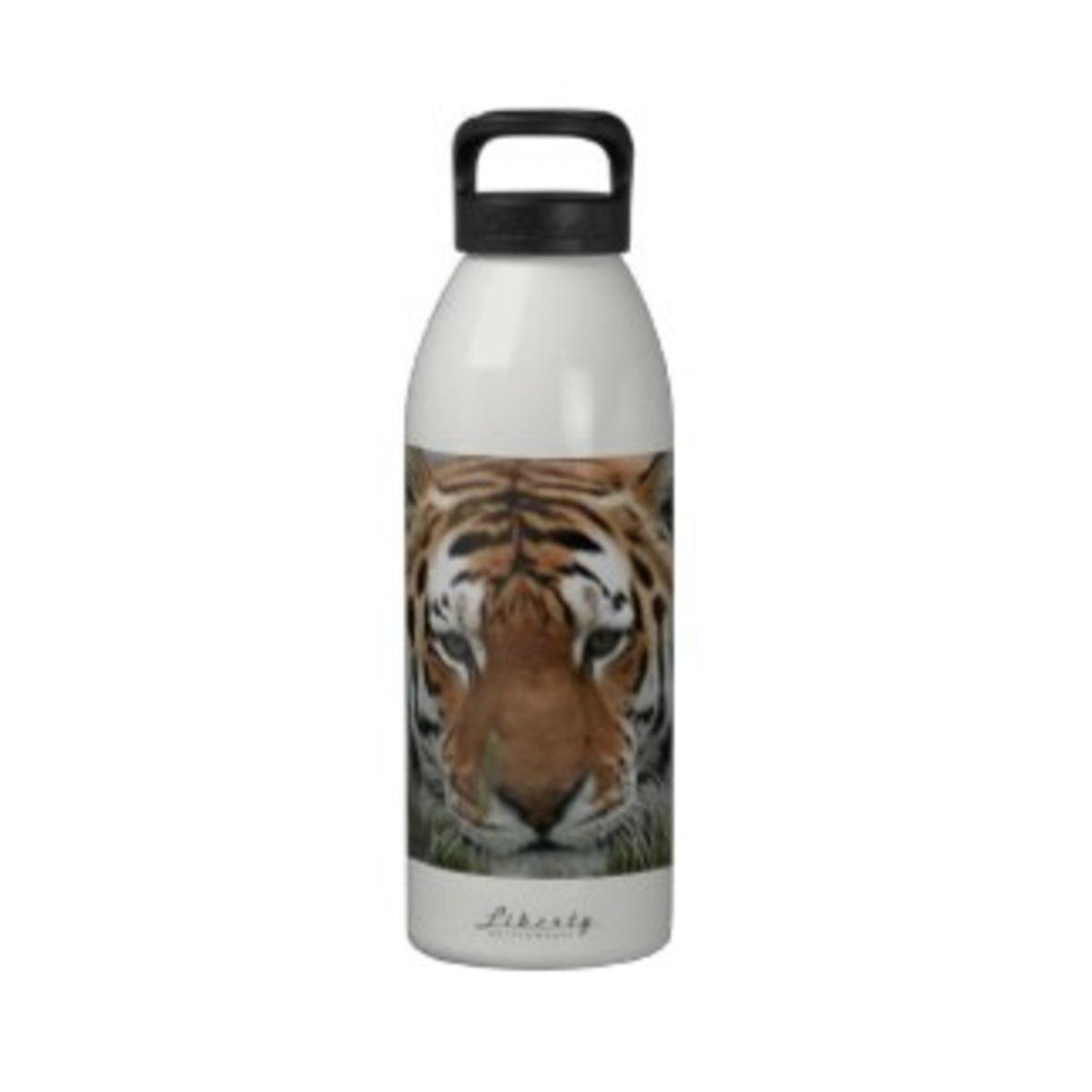 Tiger Face Reusable Water Bottle