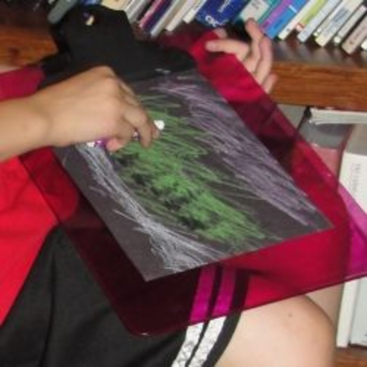 Sketching an Aurora Borealis landscape scene using pastels
