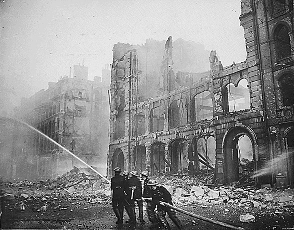 Firemen in London after the Blitz.