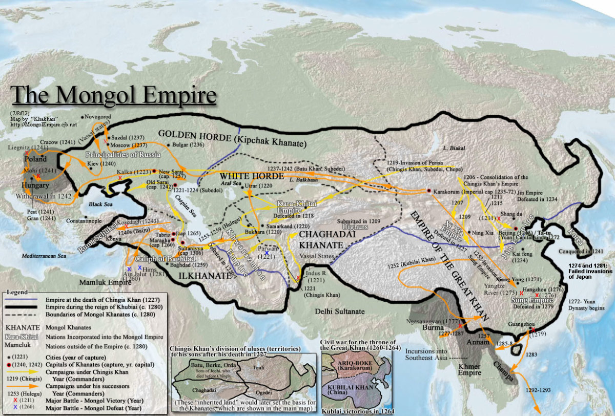 The Mongolian Empire up to circa 1293