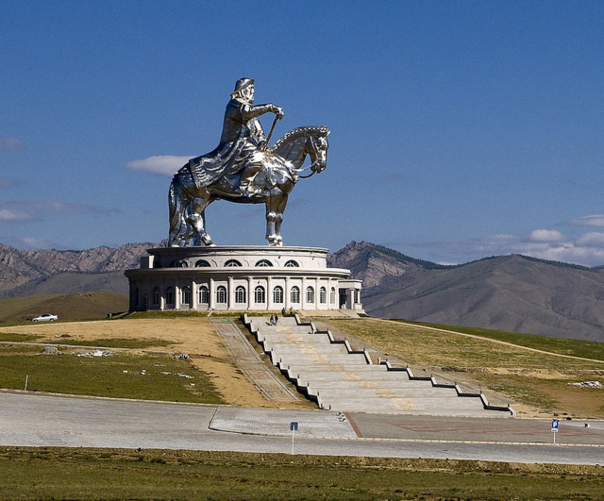 Just over thirty miles east of the Mongolian capital of Ulan Bator the old Emperor, Genghis Khan, rides again.