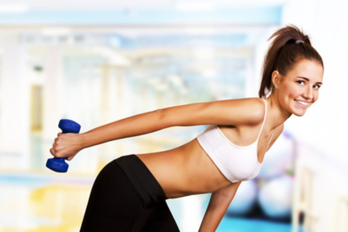 Dumbbell Kickbacks - another way to help lose upper arm fat.