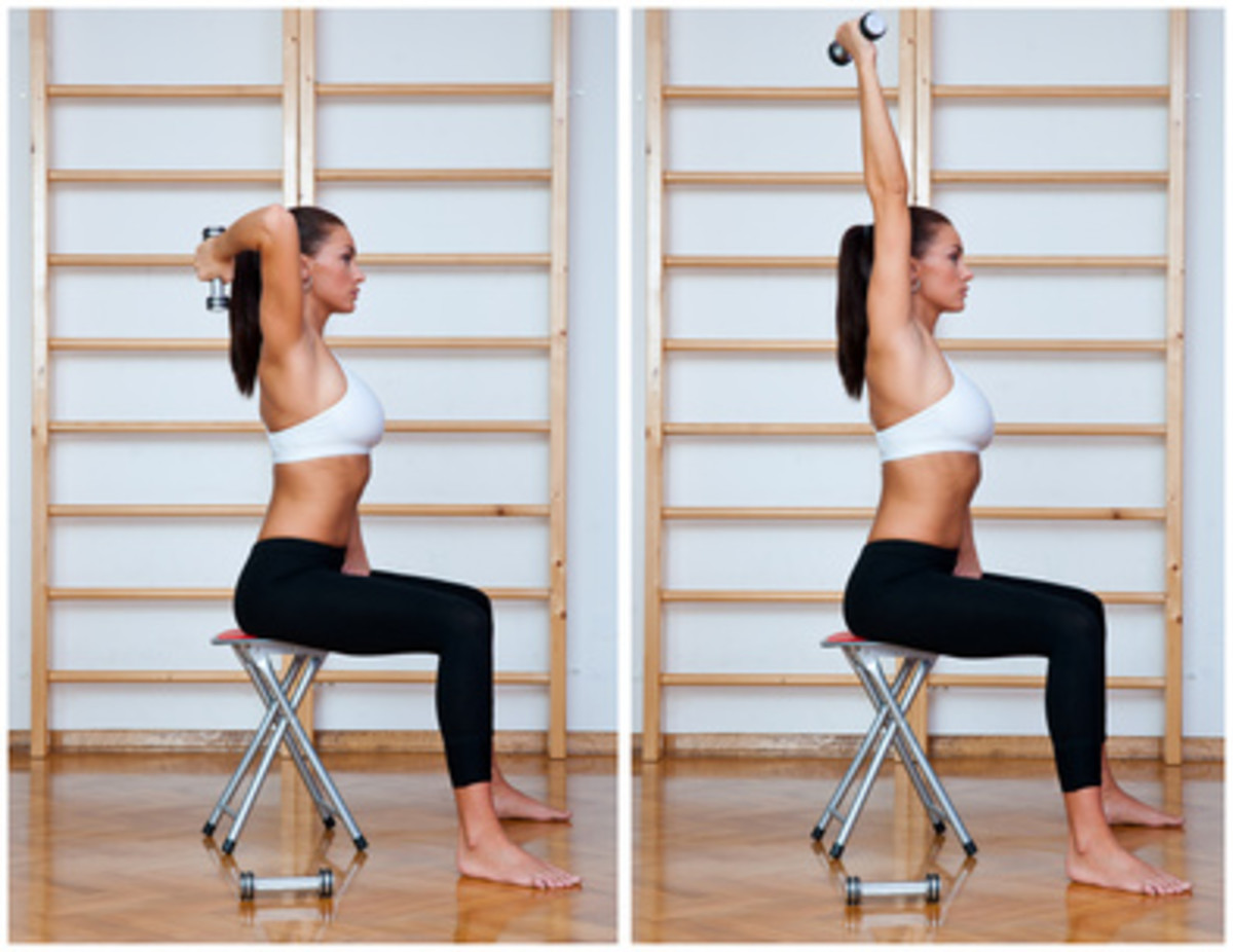 How to get rid of flabby arms?...with dumbbell 1-arm triceps extensions.