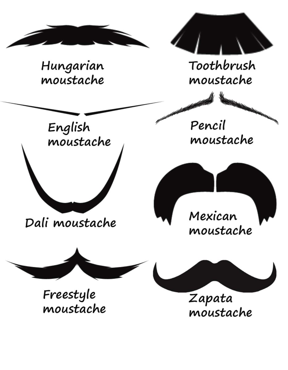 Different types of mustaches created from Photoshop brush