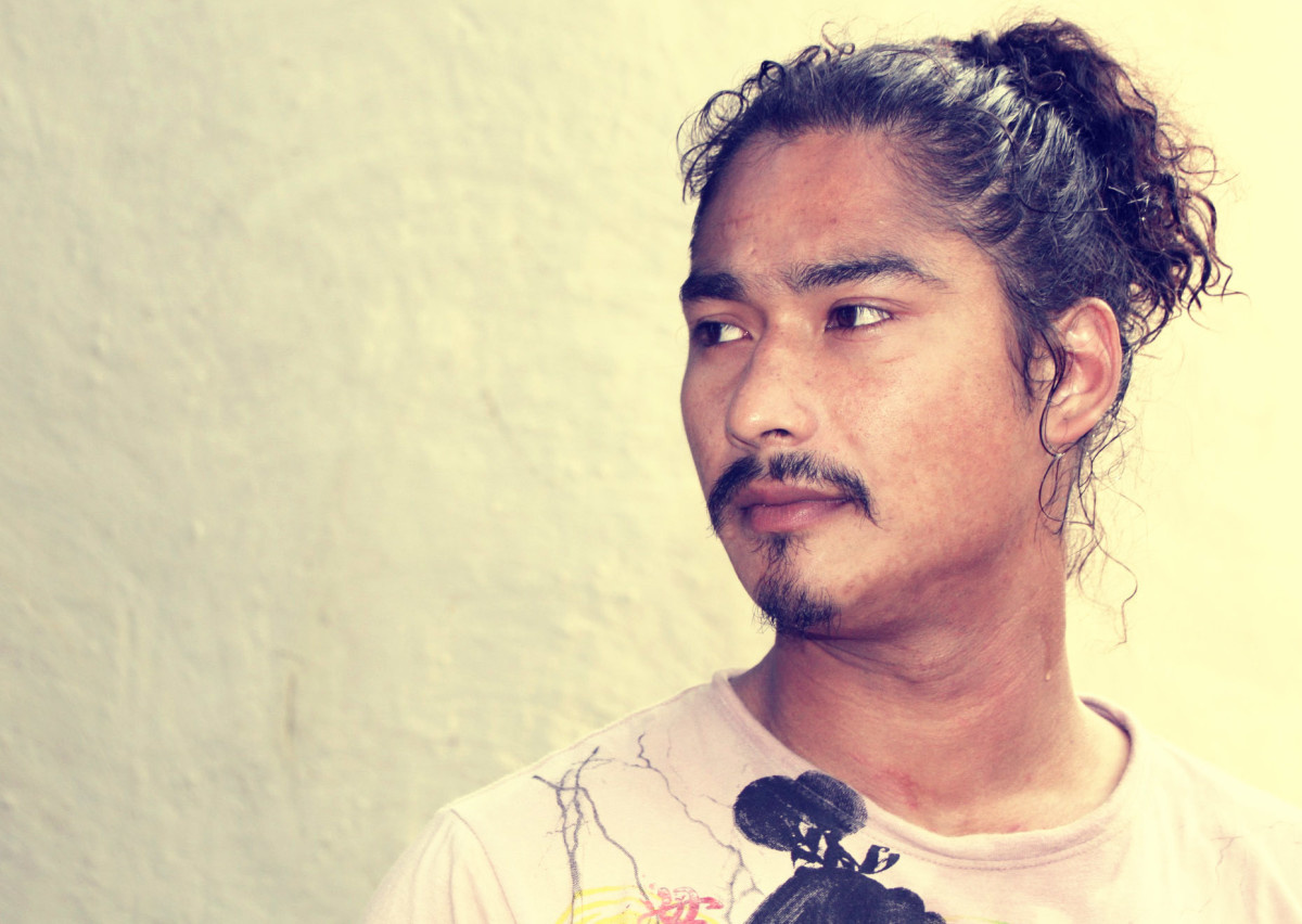 Saugat Malla, a Nepali movie star, sporting mustache and goatee.