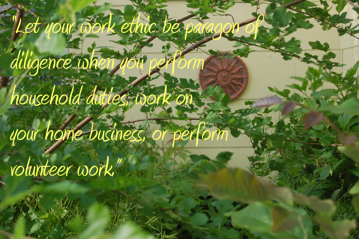 """""""Let your work ethic be paragon of diligence when you perform household duties, work on your home business, or perform volunteer work."""" -Rain San Martin"""