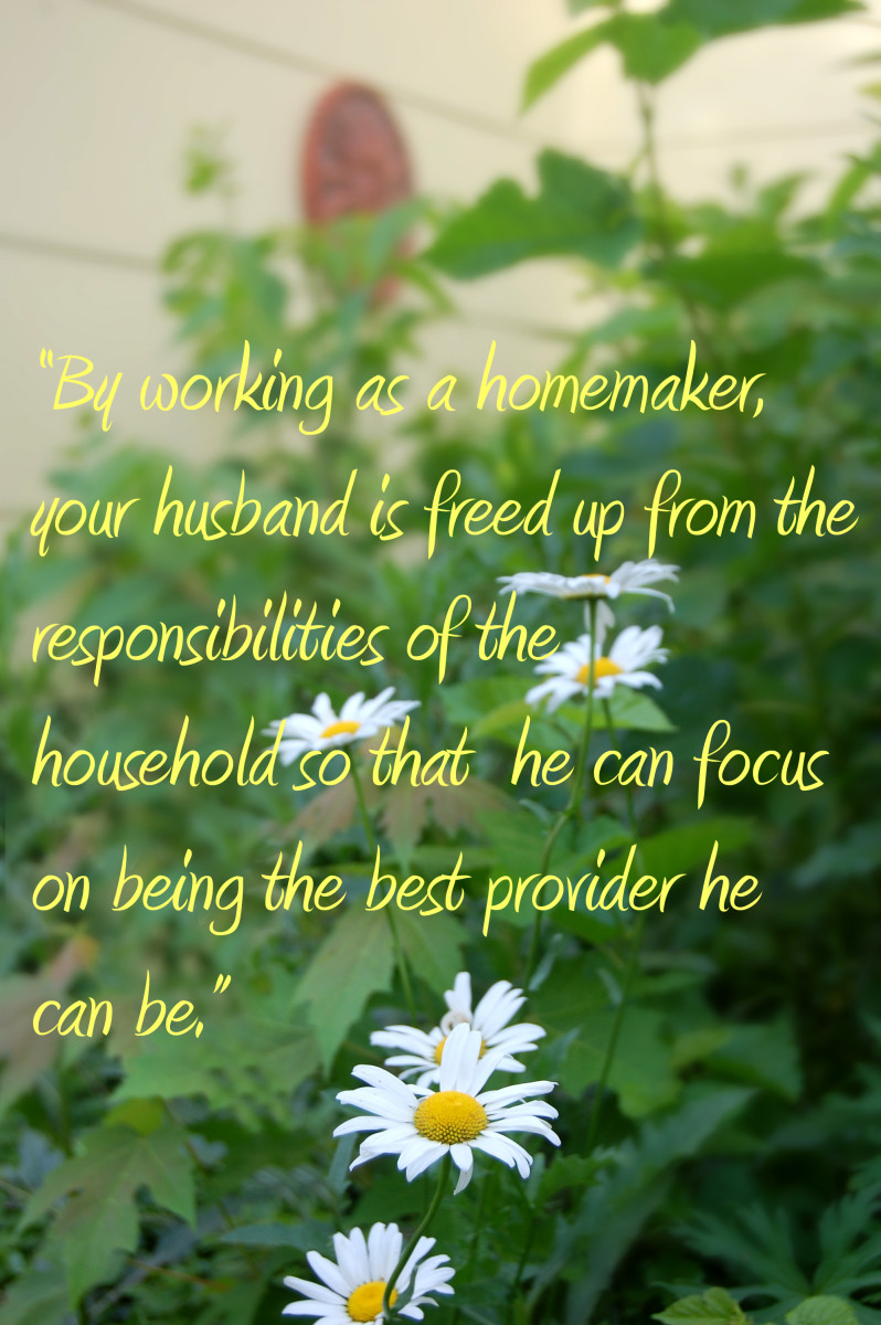 """By working as a homemaker, your husband is freed up from the responsibilities of the household so that he can focus on being the best provider he can be.""  -Rain San Martin"