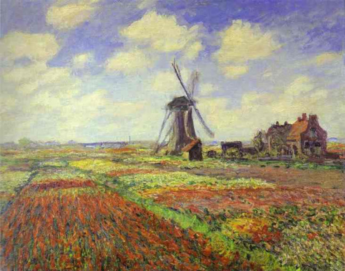 One of Netherlands touristic attractions, tulip fiels, here illustrated in one of Monet's paitings.