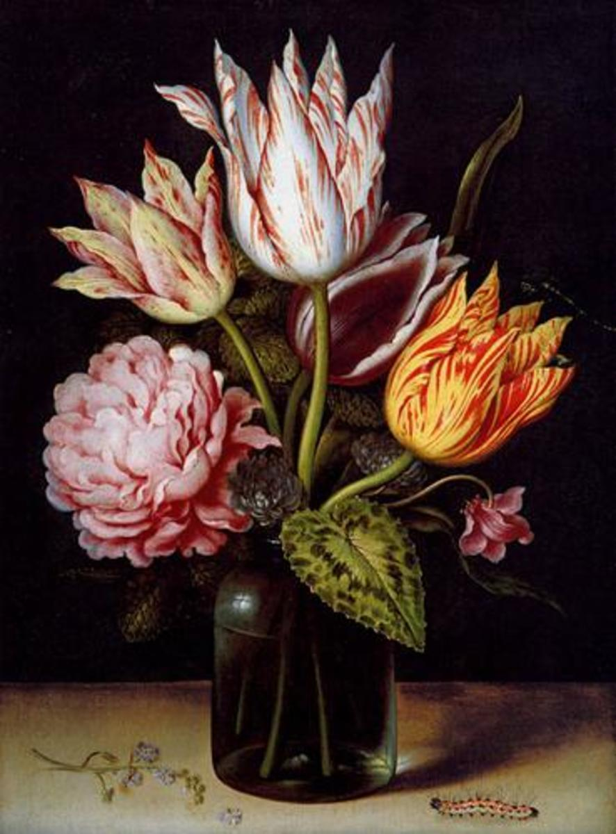 A reproduction of a famous painting from the Dutch Golden Age painter Ambrosius Bosschaert the Elder.