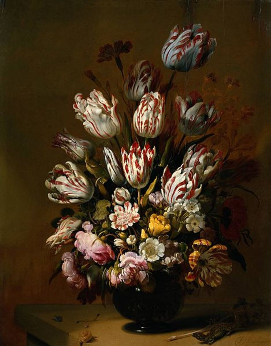 Multicolored tulips were among the most valued in the Netherlands in the 17th century, here illustrated in this Hans Bollongier painting from 1639.