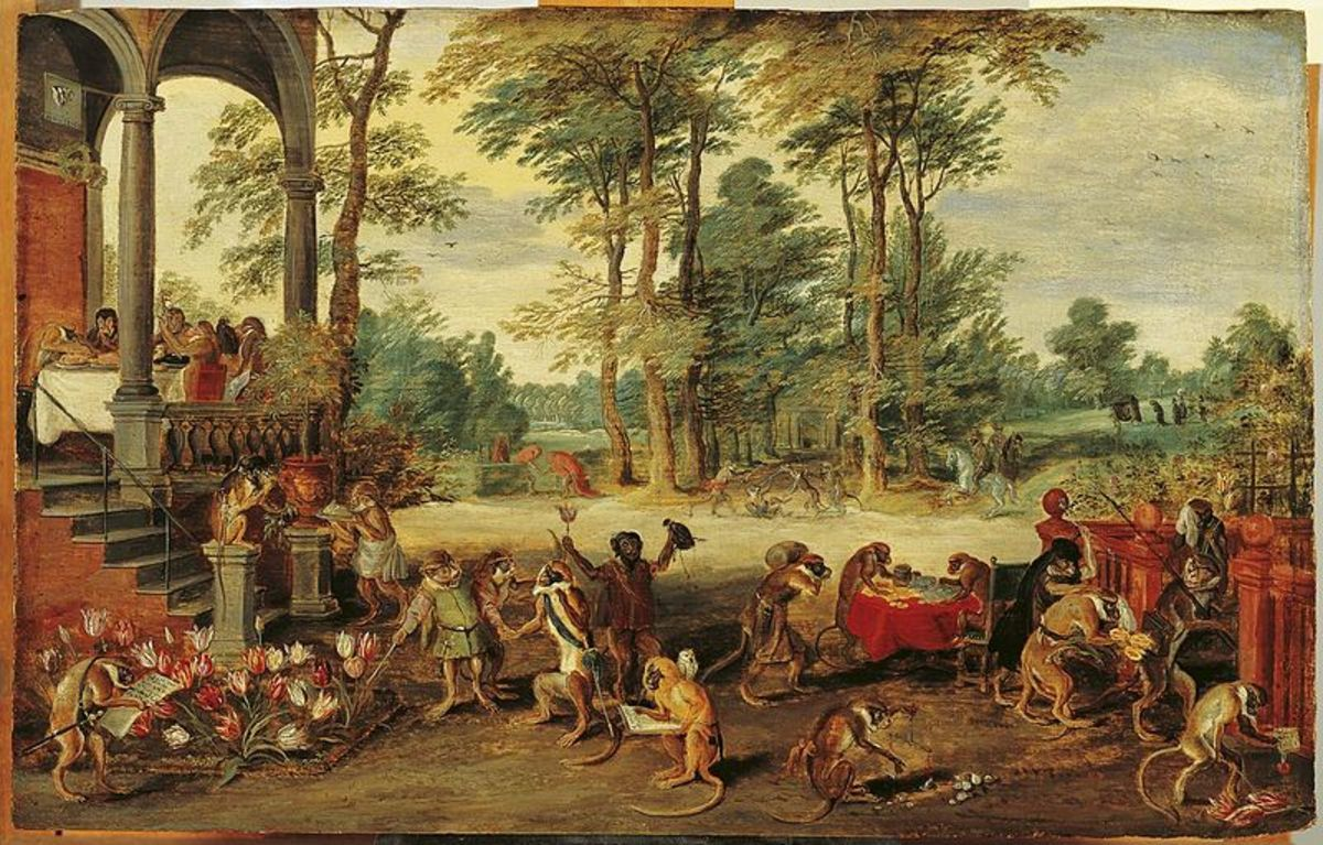 A Satire of Tulip Mania by Flemish painter Brueghel the Younger (ca. 1640), depicting the social hysteria at the time as if the market was run by brainless monkeys.