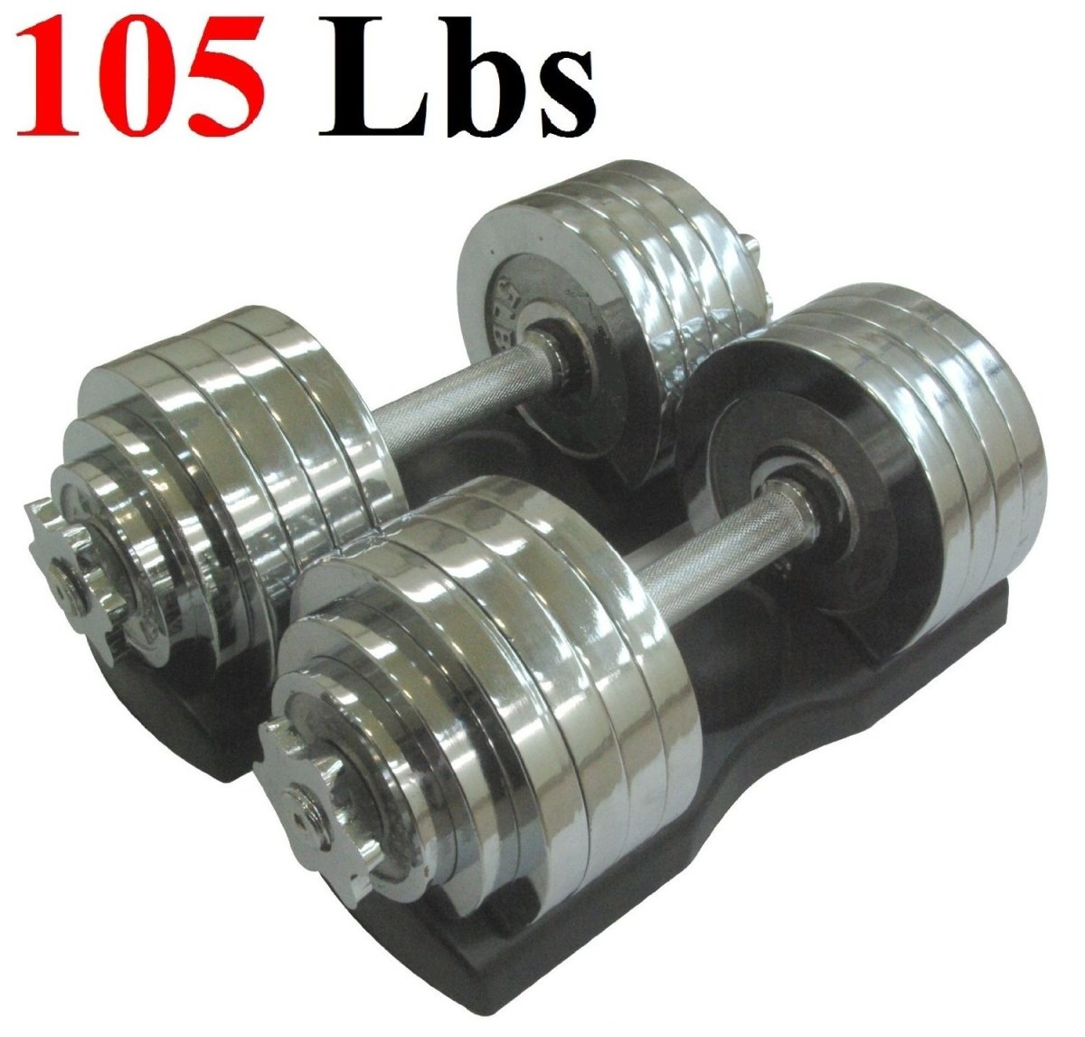 ONE PAIR OF ADJUSTABLE DUMBBELLS CHROME PLATED METAL