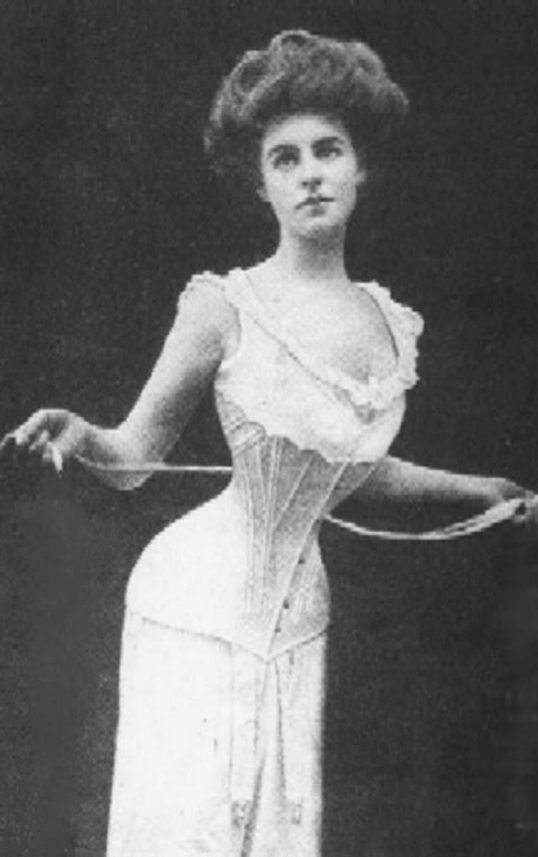 The Edwardian corset forced women's bosoms and backsides out while cinching in their waists.