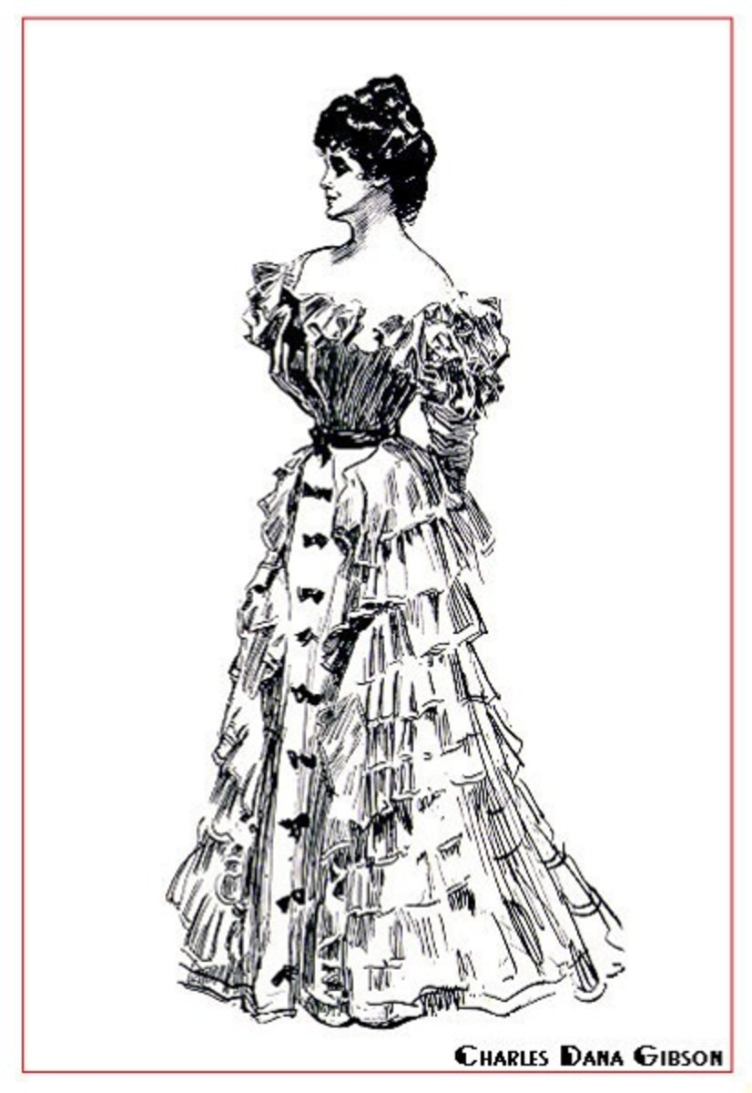 Gibson girls were they style for Edwardian times. Hair should be affixed atop the head and made very full. Ruffles and a corset were de rigeur.