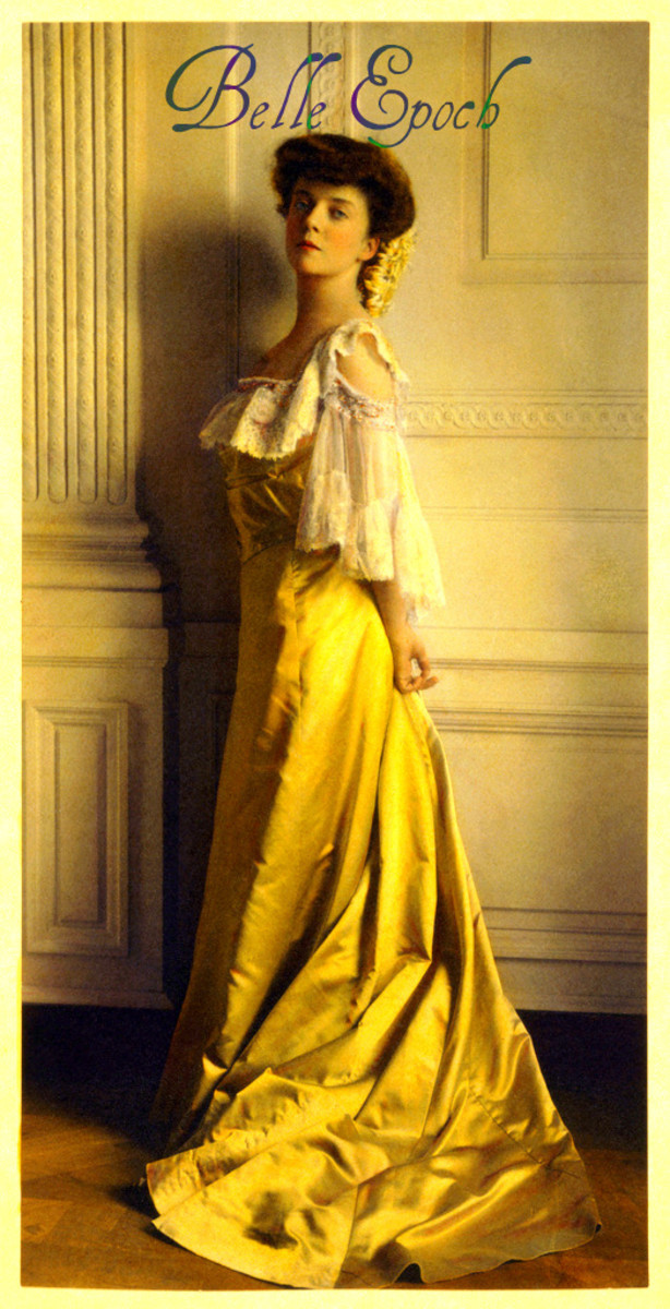 Elaborately decorated dresses are a sign of Edwardian times.