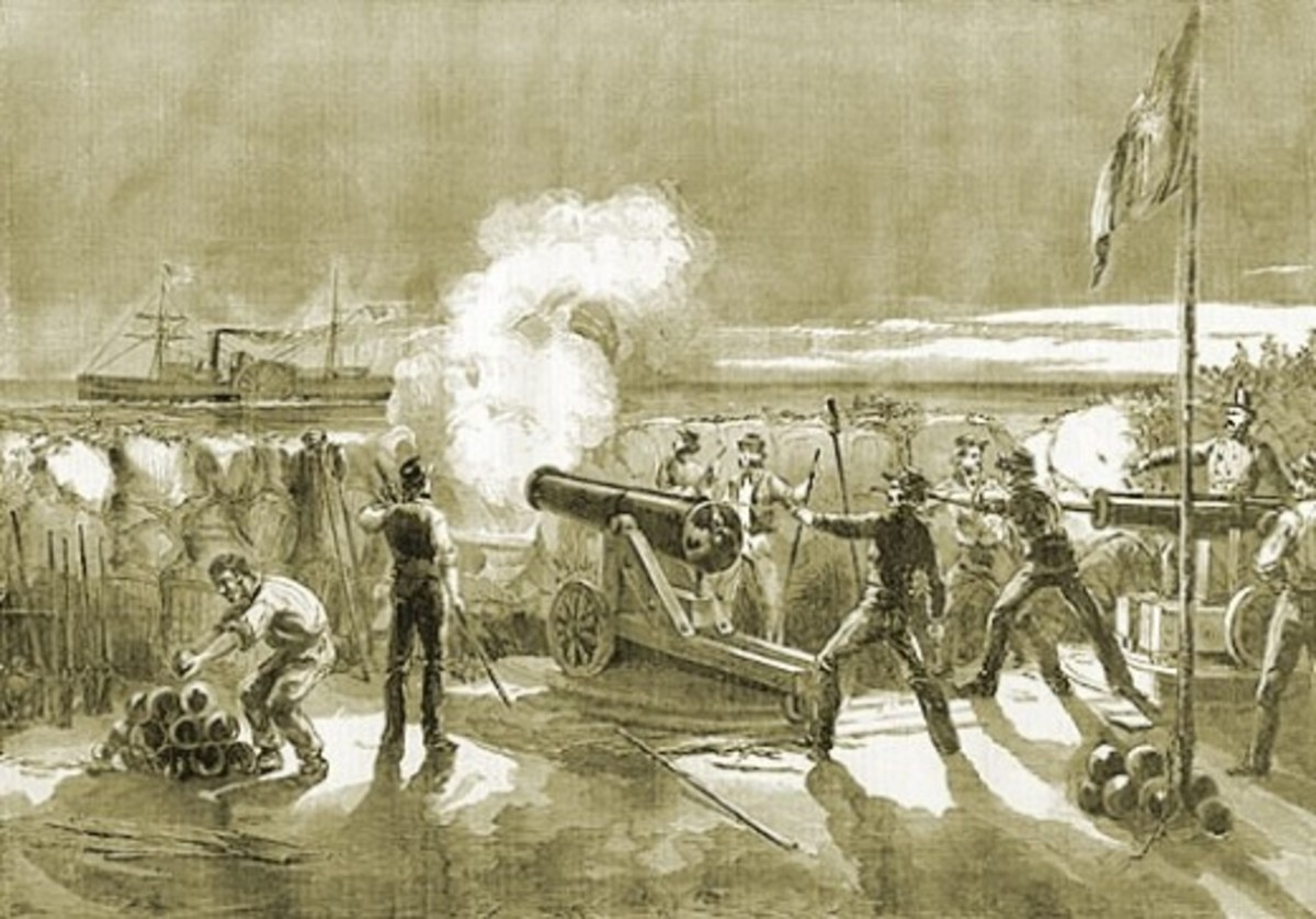 Sketch - a South Carolina battery fires upon the USS Star of the West