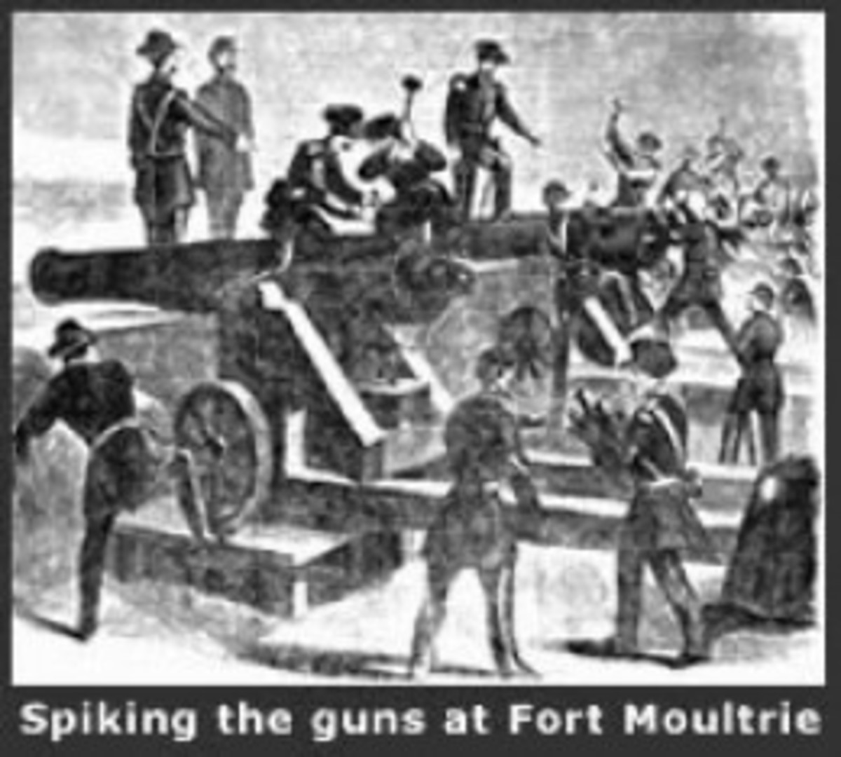 Sketch - Federal garrison troops abandon Fort Moultrie and spike the cannon