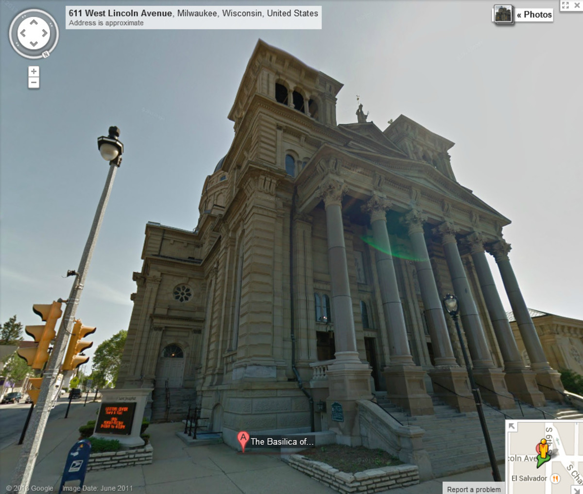 The street view of St. Josaphat Basilica in Milwaukee gives you a great taste of the stunning exterior architecture.