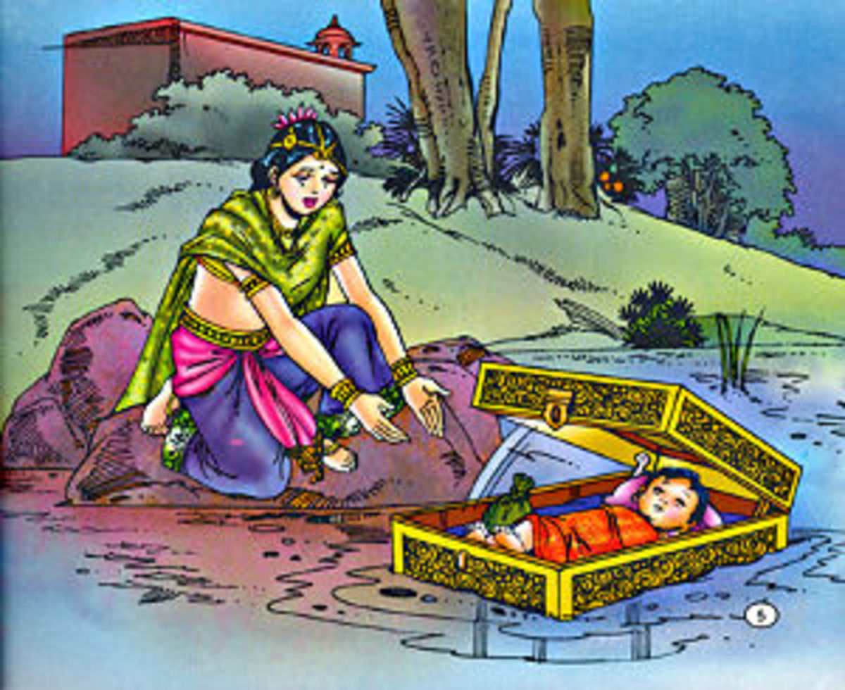 A painting depicting Karna's ill fate from his birth onwards. Kunti, the mother abandons the baby fearing disgrace
