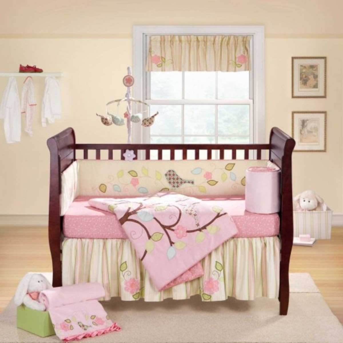 Love Bird Banana Fish Pink and Lime Bay Girl Crib Set