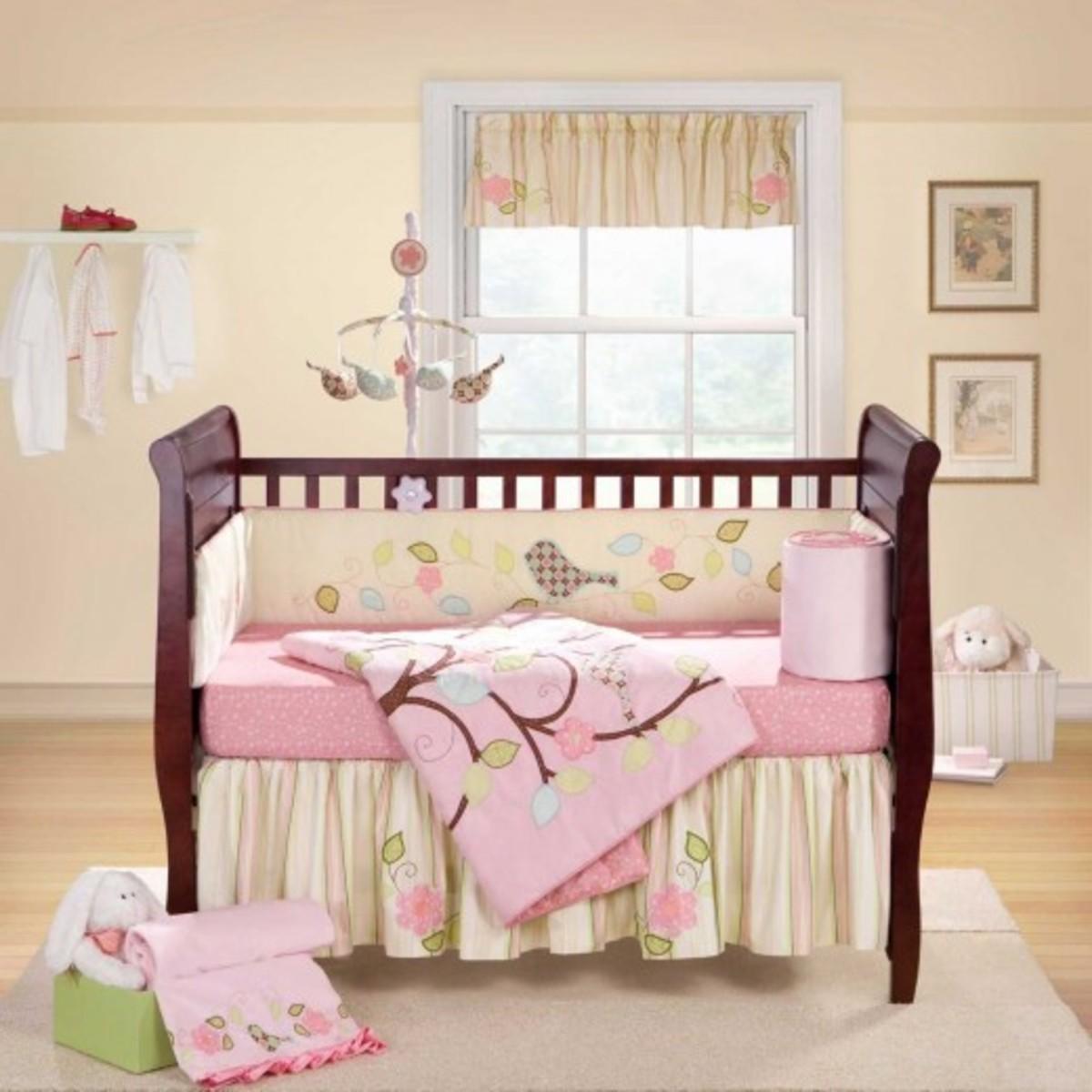 Love Bird Banana Fish Pink and Lime Bay Girl Crib Set