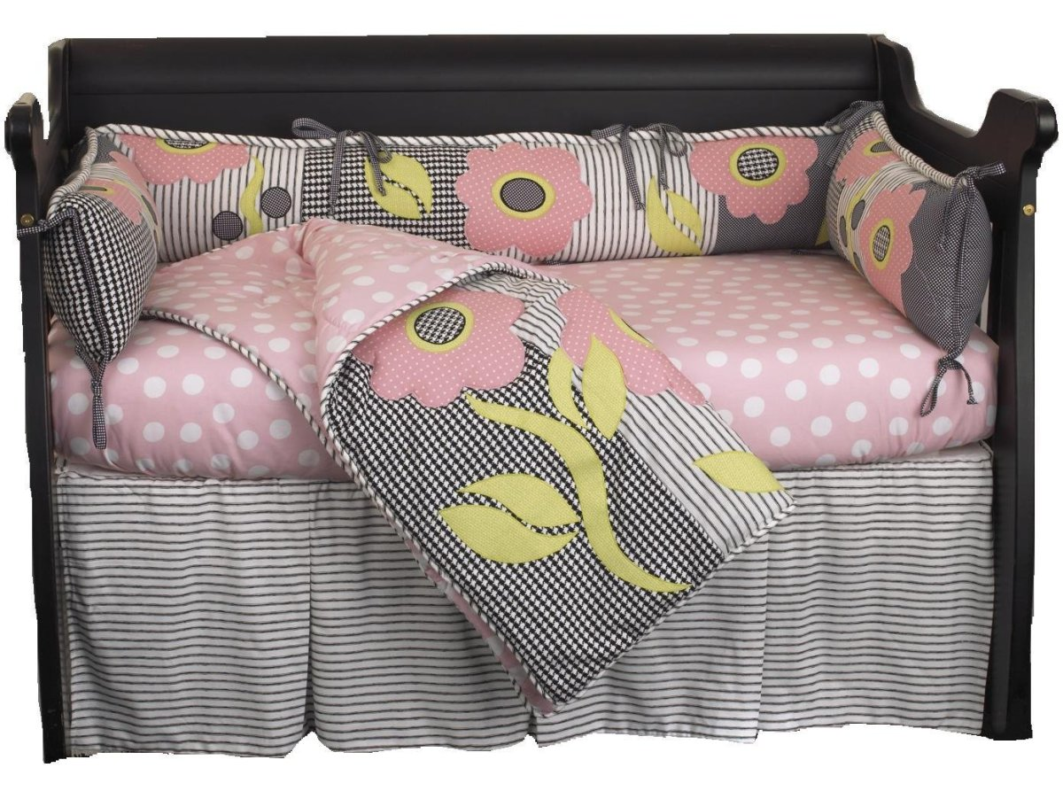 Black, White & Pink Flower 4-Piece Mini Crib Bedding for Baby Girl