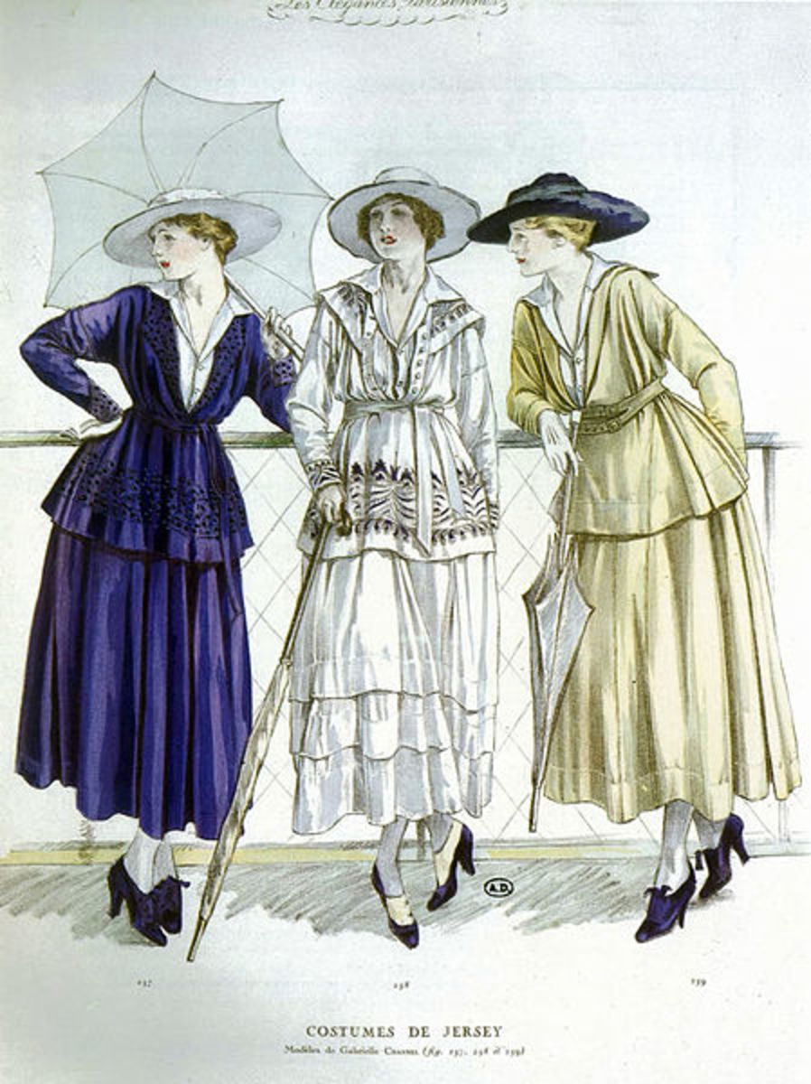 The casual jersey designs of Coco Chanel from 1917.