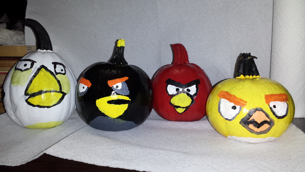 Angry Bird Painted Pumpkins