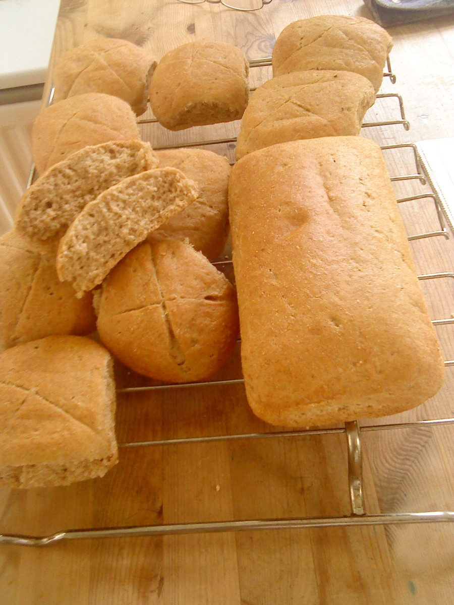 Oatmeal buns and a loaf cooling down.