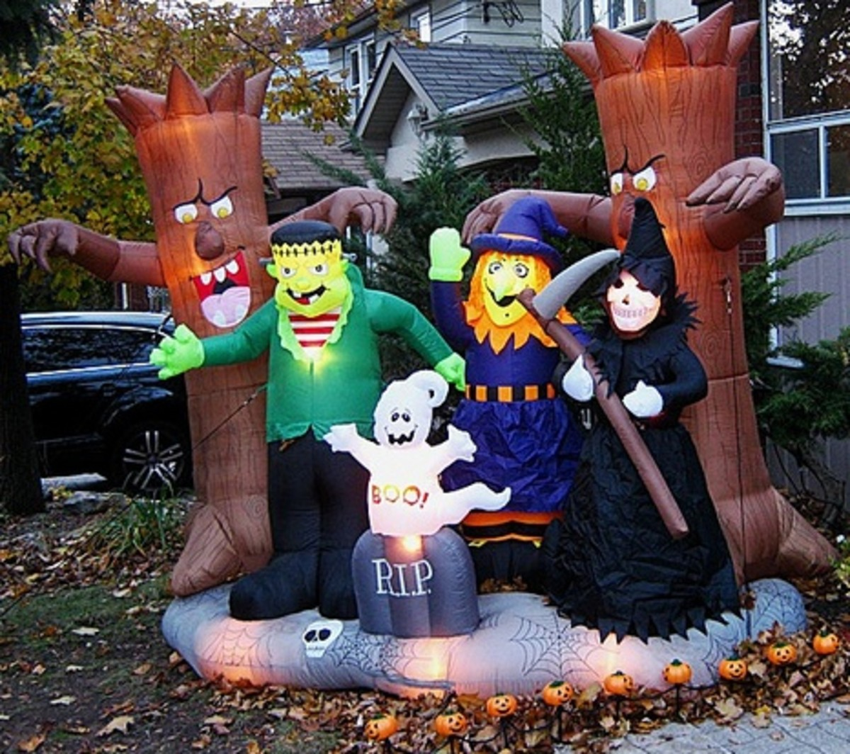Monsters of all shapes and sizes can gather together in your yard for Halloween.