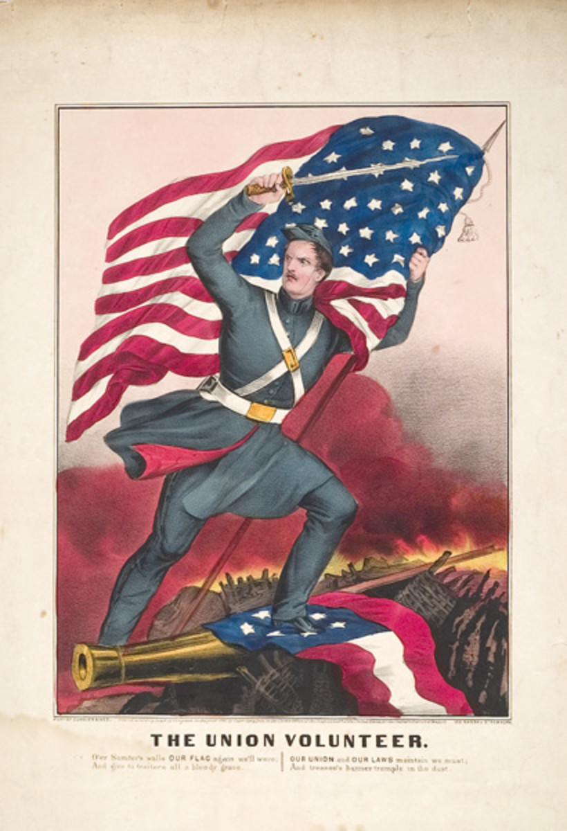 """Postcard: The Union Volunteer. The caption on the bottom reads: """"O'er Sumter's walls OUR FLAG again we'll wave, And give to traitors all a bloody grave, OUR UNION and OUR LAWS maintain we must, And treason's banner trample in the dust."""""""