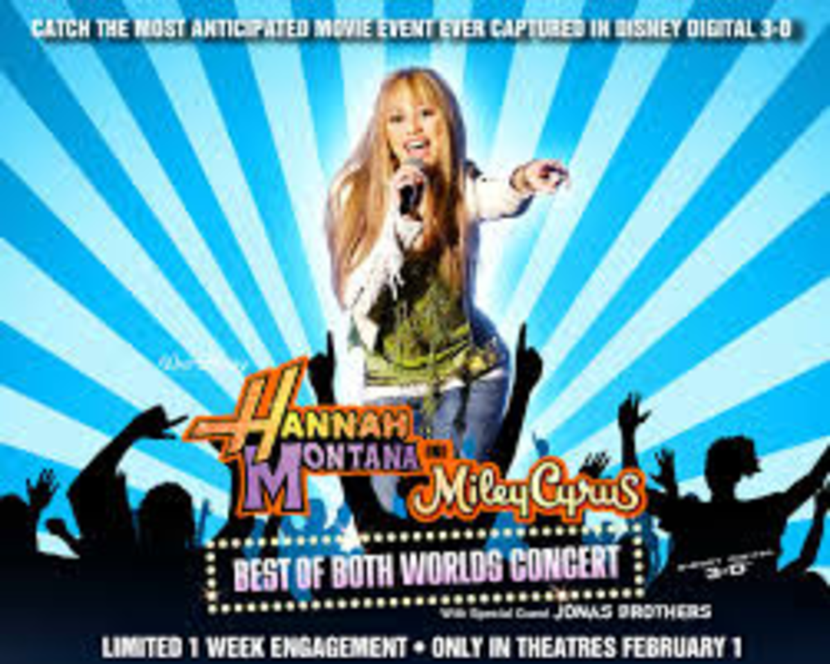 "Miley Cyrus as Hannah Montana on the ""Best of Both Worlds"" tour."