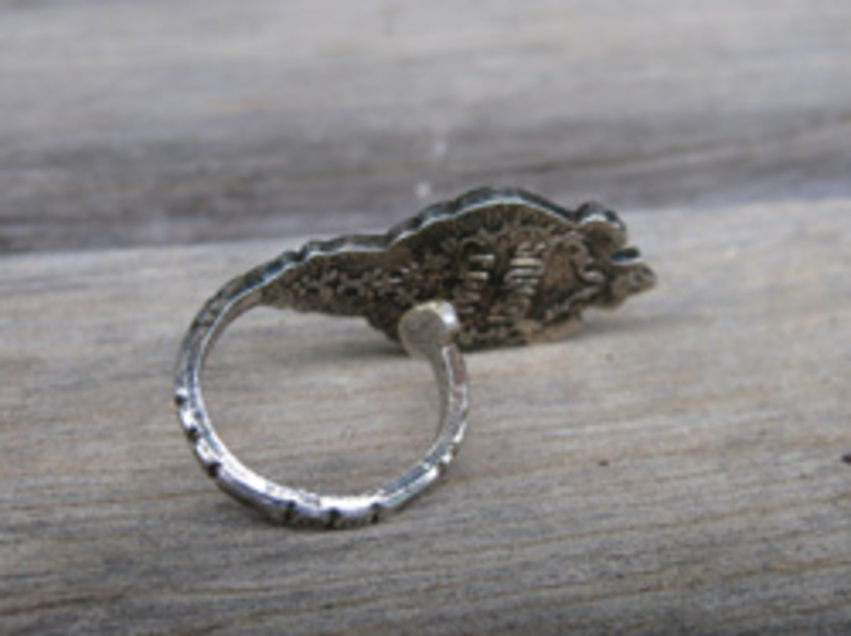 The back of the souvenir teaspoon ring.