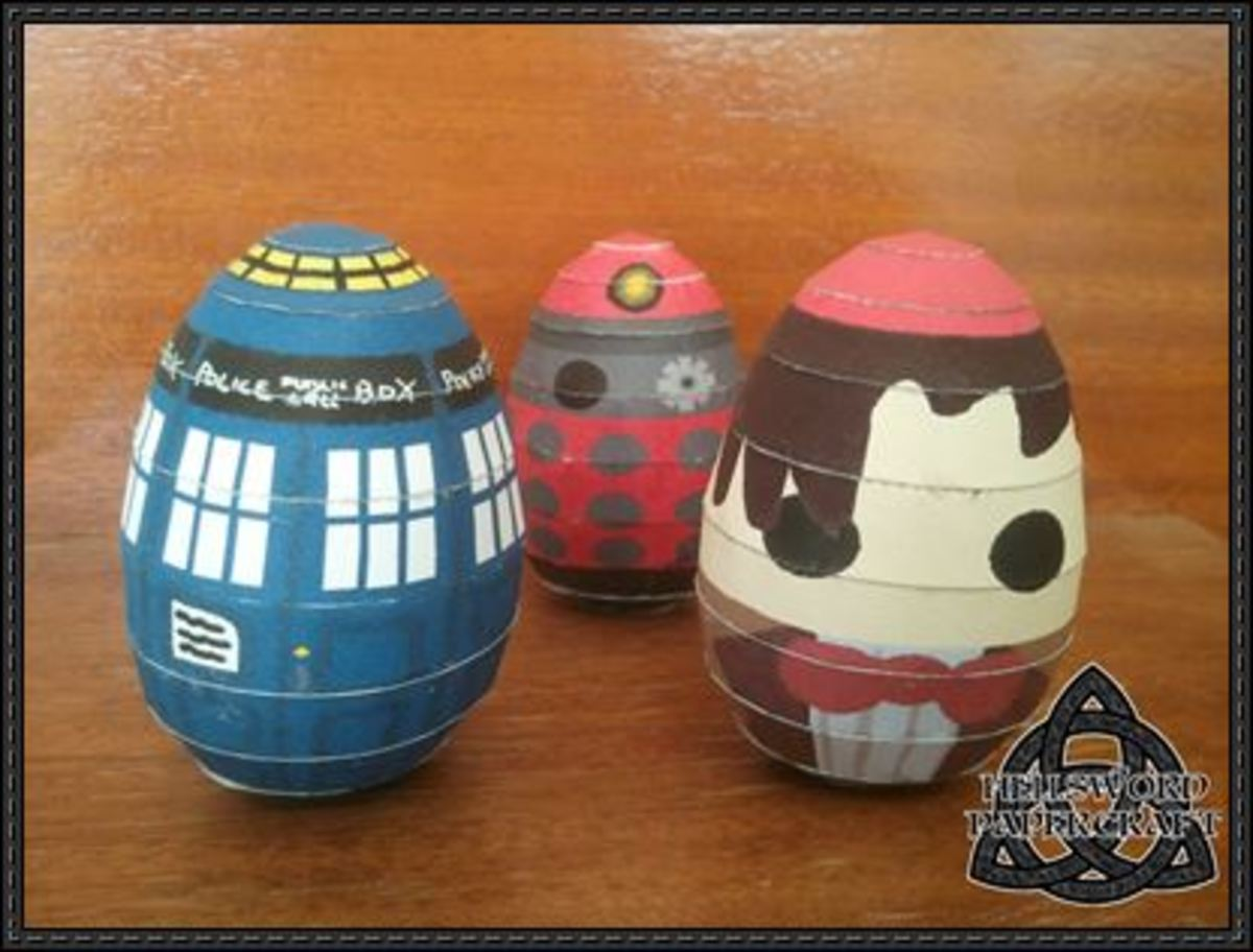 Easter Eggs With A Doctor Who Theme.  Print Out These Fun Paper Crafts To Decorate Your Easter Eggs This Year.