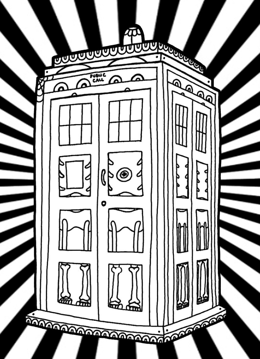 The TARDIS Coloring Page - Print It Out And Make Sure You Have Lots Of Blue Crayons!  Click On This Picture To Find More Doctor Who Coloring Sheets.
