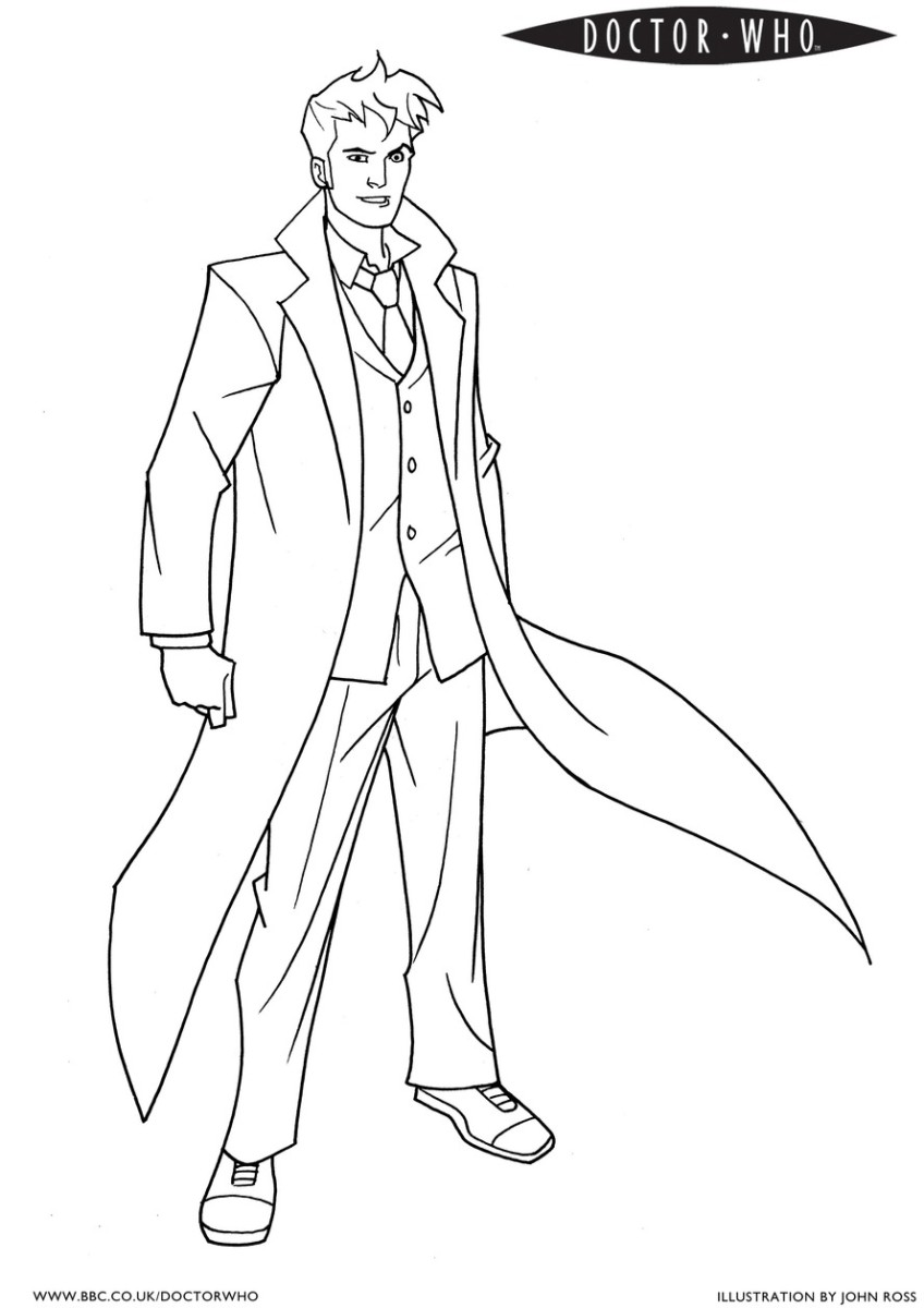 It's Doctor Who waiting to be colored in by your imagination.  Print him out and color him in.  Find lots more pictures by clicking on the picture.