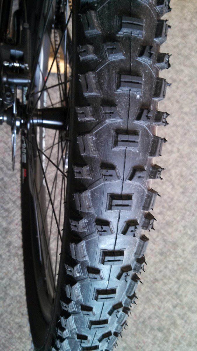 Mountain Bike Tires are Wide and Knobby