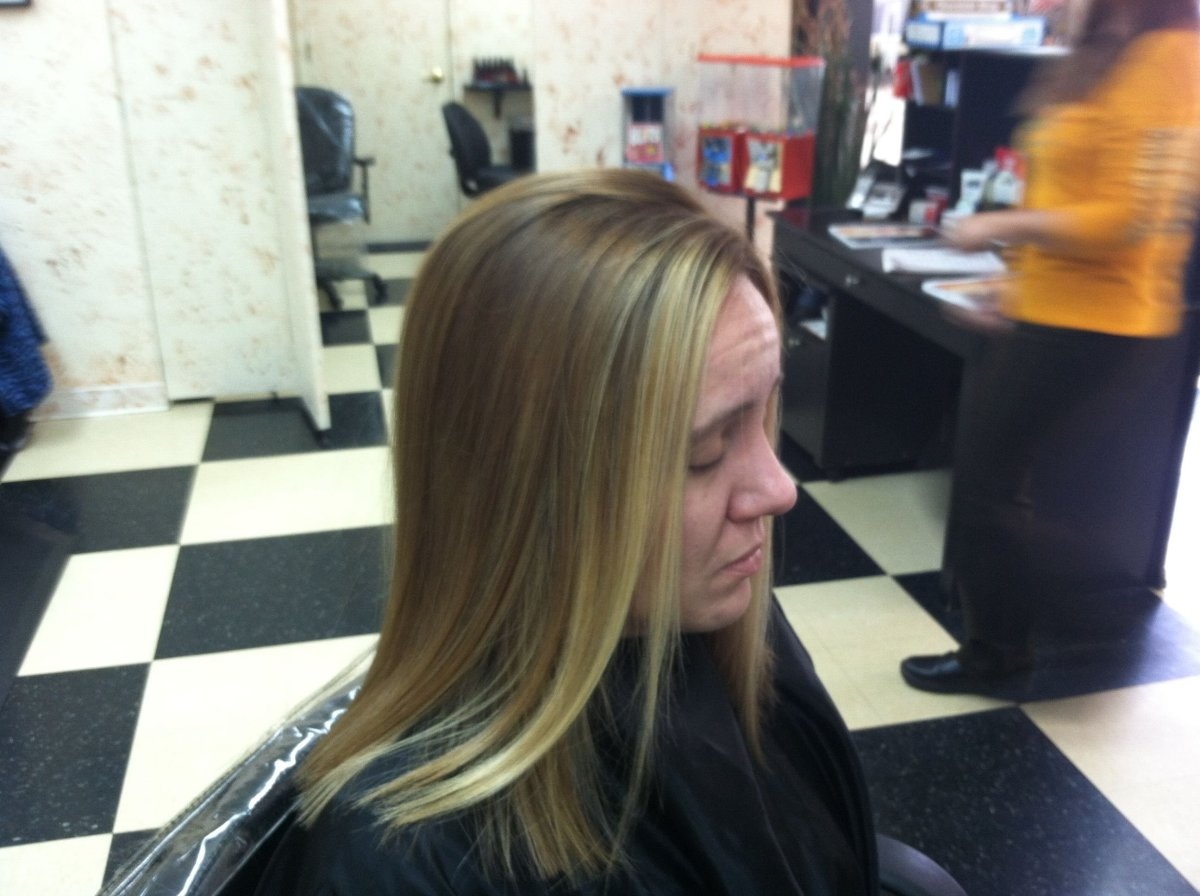 Side view of my hair after a Keratin treatment