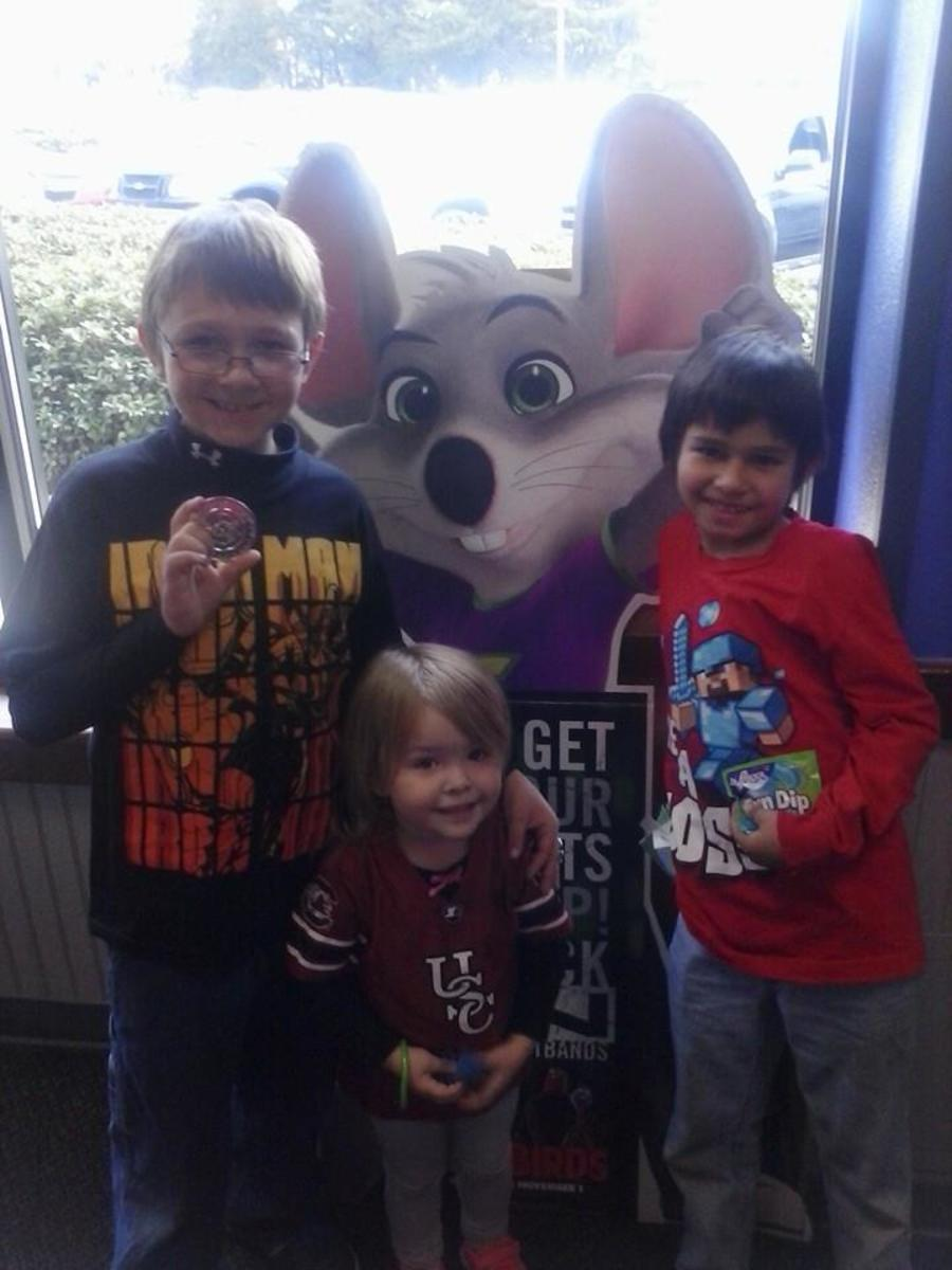 Someone we know who works at Chucky cheese was nice enough to get us tokens so my boys could celebrate their birthdays this year.