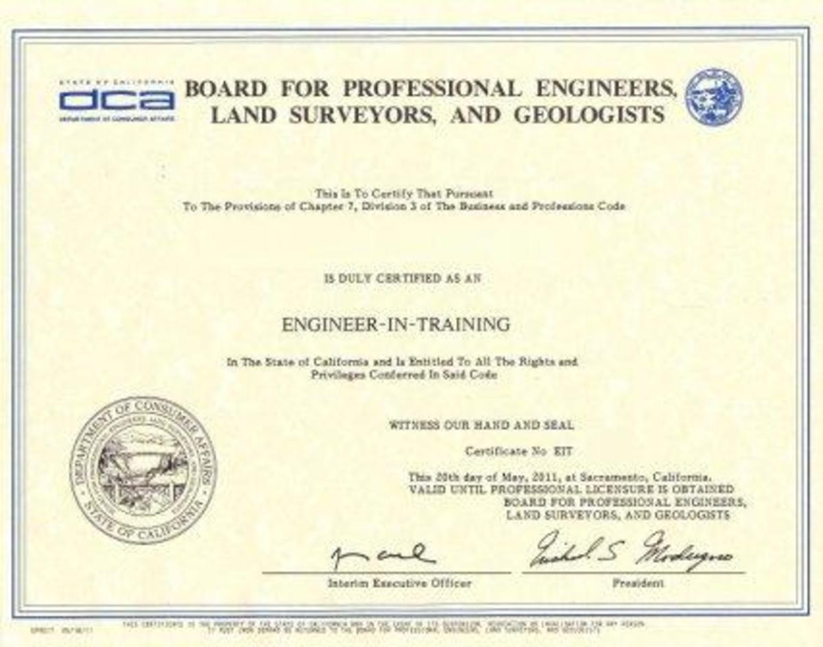 This is what you're working for: An EIT Certificate. Pass the FE, and it's yours.