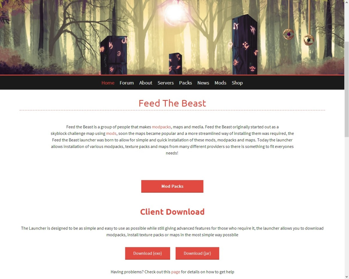 To download Feed the Beast, click .exe for Windows or .jar for Mac or Linux.